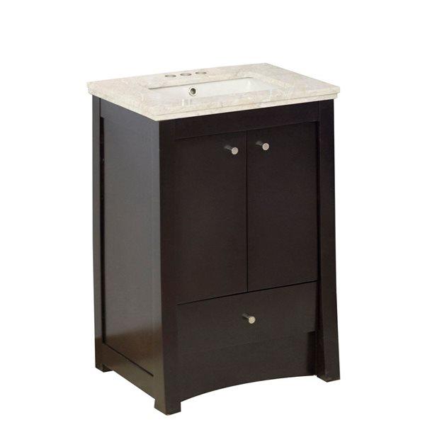 "Ensemble de meuble-lavabo, 23,75"", brun"