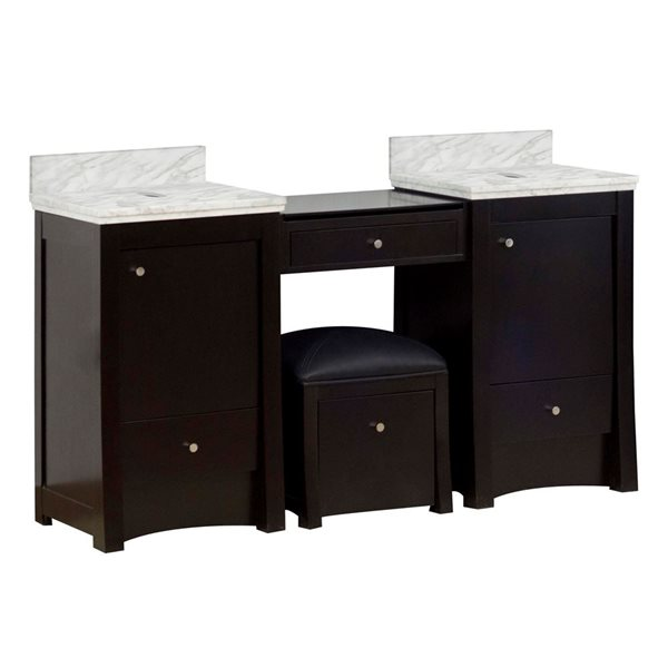 American Imaginations Xena Farmhouse 60.75-in Double Sink Brown Bathroom Vanity with Marble Top