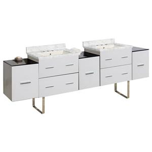 Xena Farmhouse 88.50-in Double Sink White Bathroom Vanity with Marble Top