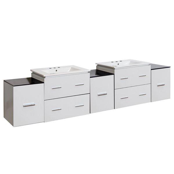 Xena Farmhouse 88.50-in Double Sink White Bathroom Vanity with Ceramic Top
