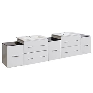 Xena Farmhouse 88.50-in Double Sink White Bathroom Vanity with Ceramic Top