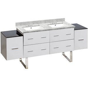 Xena Farmhouse 74-in Double Sink White Bathroom Vanity with Quartz Top
