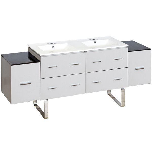 "Ensemble de meuble-lavabo, 74"", blanc"