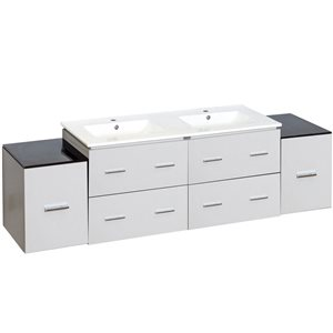 Xena Farmhouse 74-in Double Sink White Bathroom Vanity with Ceramic Top