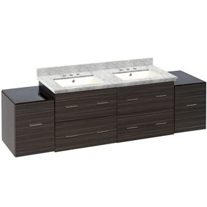 Xena 76-in Double Sink Gray Bathroom Vanity with Quartz Top