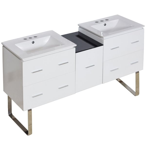 "Ensemble de meuble-lavabo, 61,5"", blanc"