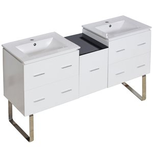 Xena Farmhouse 61.50-in Double Sink White Bathroom Vanity with Ceramic Top
