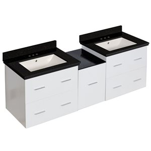 Xena Farmhouse 61.50-in Double Sink White Bathroom Vanity with Quartz Top
