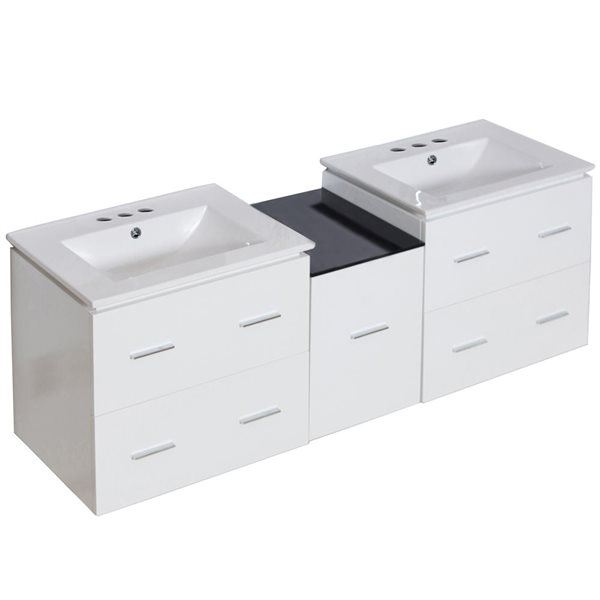 "Ensemble de meuble-lavabo, 61,5"", blanc"