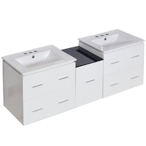 Xena Farmhouse 61.50-in Double Sink White Vanity with Ceramic Top