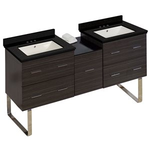 Xena 61.5-in Double Sink Gray Bathroom Vanity with Quartz Top