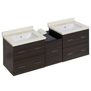 Xena 61.5-in Double Sink Gray Bathroom Vanity with Natural Marble Top