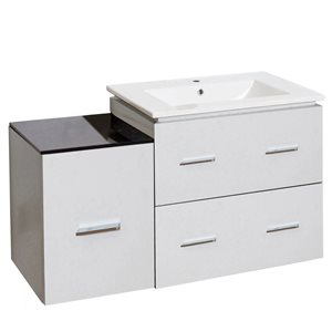 Xena Farmhouse 36.75-in White Bathroom Vanity with Ceramic Top