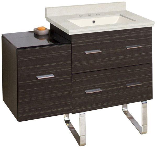 Xena Farmhouse 37.75-in Gray Bathroom Vanity with Marble Top