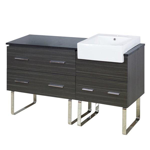 """Base de meuble-lavabo, 57,75"""", blanc/charbon"""