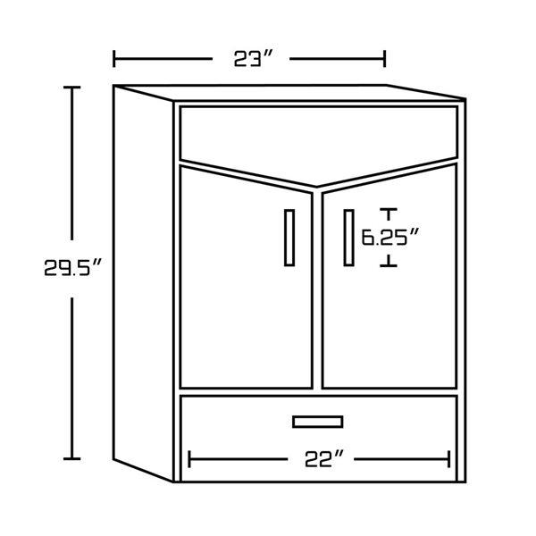 """Base de meuble-lavabo, 35"""", blanc/charbon"""