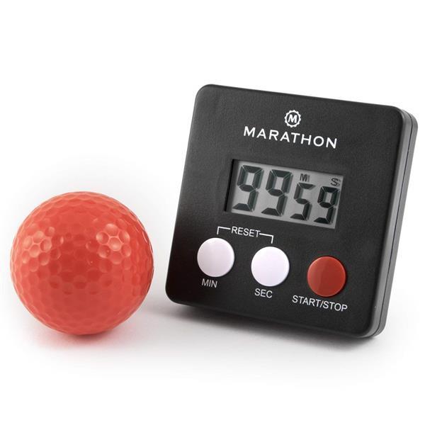 Minuterie numérique Marathon, carré, noir