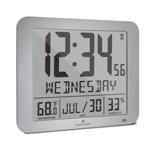 Marathon Slim-Jumbo Grey Digital Wall Clock with Temperature & Humidity