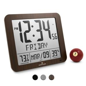 Marathon Slim-Jumbo Wood Digital Wall Clock with Temperature & Humidity