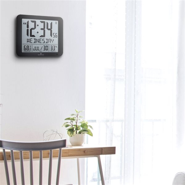 Marathon Slim-Jumbo Black Rectangle Digital Wall Clock with Temperature & Humidity
