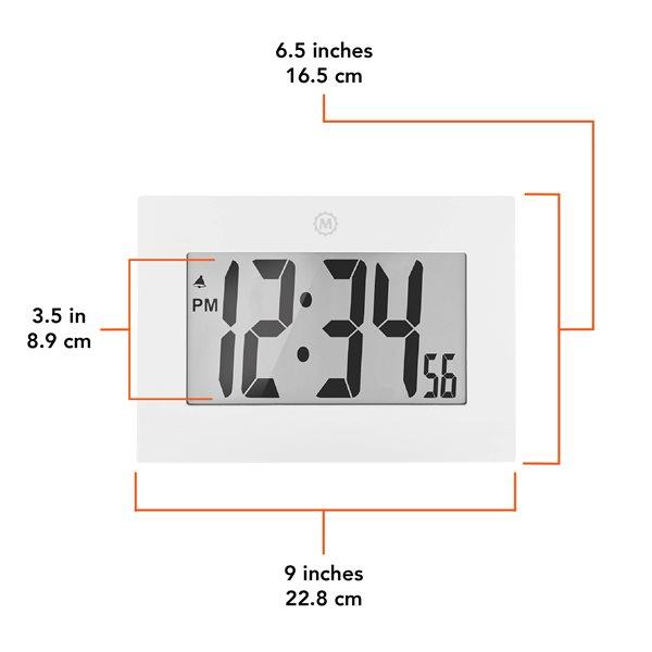 Horloge cadre numérique Marathon, rectangle, blanc