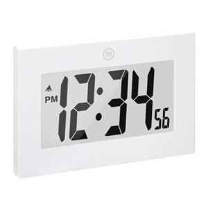 Marathon Large Digit White Rectangle Digital Frame Clock