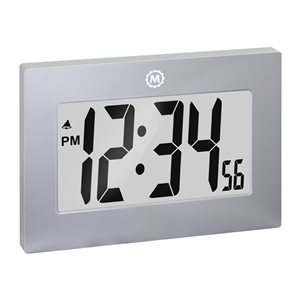 Marathon Large Digit Grey Rectangle Digital Frame Clock