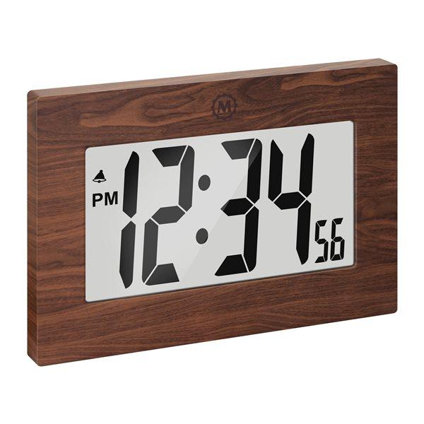 Horloge numérique Marathon, rectangle, bois