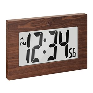 Marathon Large Digit Wood Rectangle Digital Frame Clock