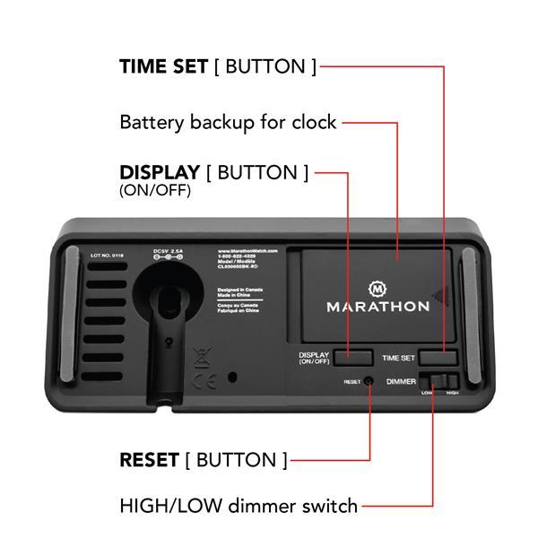 Marathon Black Rectangle LED Alarm Clock