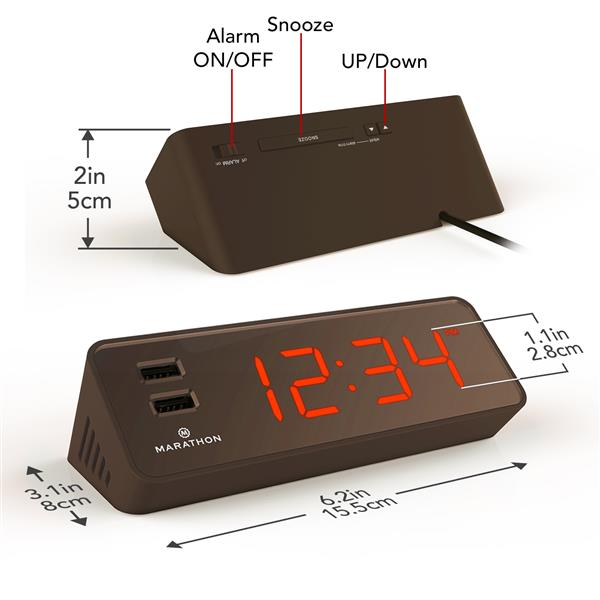 Horloge LED Marathon, rectangle, chocolat
