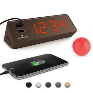 Marathon Cocoa Rectangle LED Alarm Clock