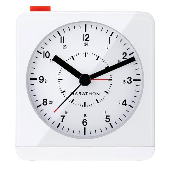 Horloge de bureau Marathon, carré, blanc