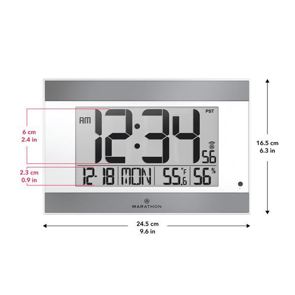 Horloge murale Marathon, rectangle, blanc