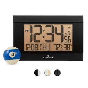 Marathon Atomic Black Rectangle Digital Alarm Clock