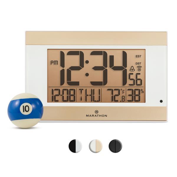 Marathon Atomic White Rectangle Digital Alarm Clock