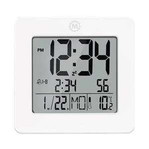 Marathon White Square Digital Alarm Clock