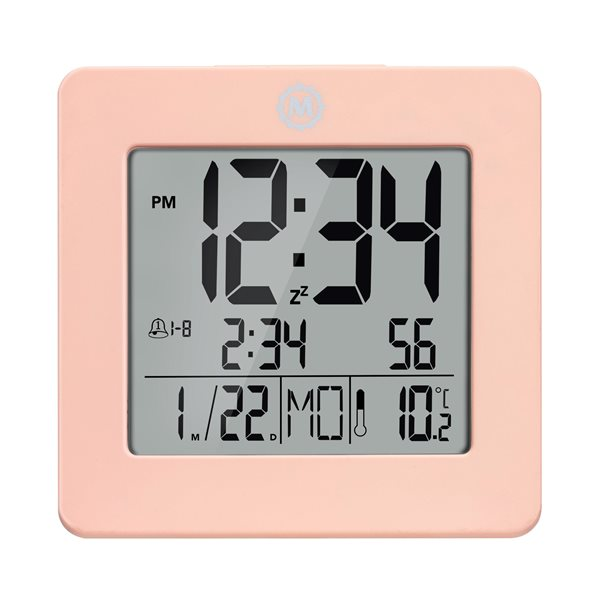 Marathon Pink Square Digital Alarm Clock