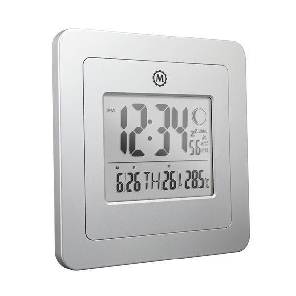 Horloge de bureau numérique Marathon, carré, gris