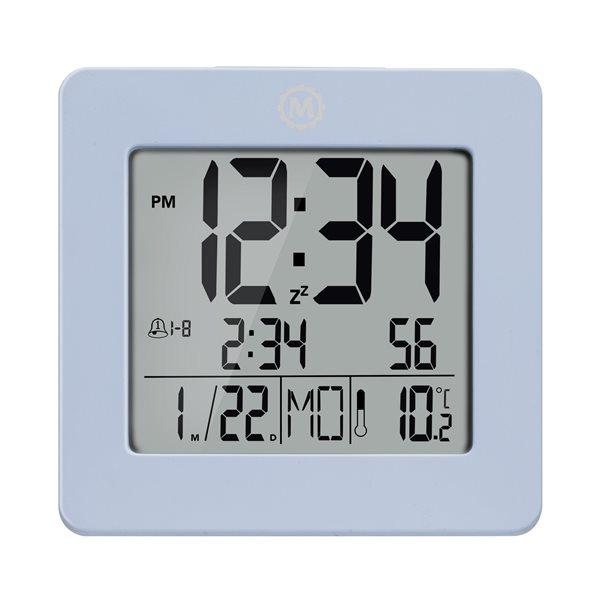 Horloge de bureau numérique Marathon, carré, bleu