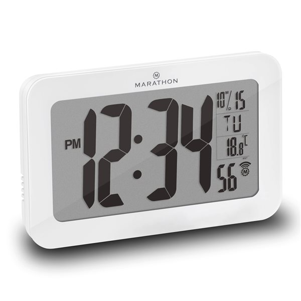 Horloge murale numérique Marathon, rectangle, blanc CL030033WH | RONA