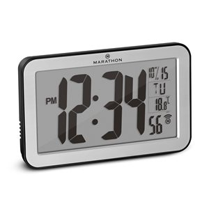 Marathon Silver Rectangle Digital Wall Clock