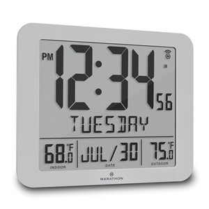 Marathon Atomic Grey Rectangle Digital Wall Clock
