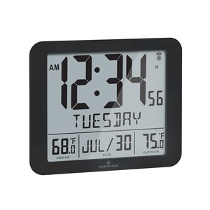 Marathon Black Rectangle Atomic Digital Wall Clock