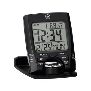 Marathon Black Square Travel Alarm Clock