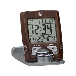 Marathon Wood Square Travel Alarm Clock