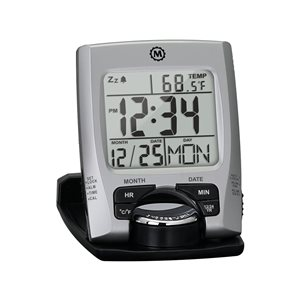 Marathon Silver Square Travel Alarm Clock
