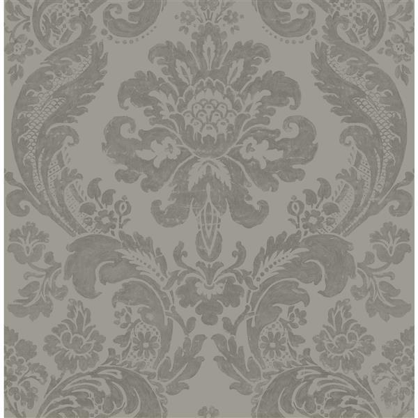 A-Street Prints Sete Greek Key Geometric Grey 56.40sq-ft Unpasted Wallpaper