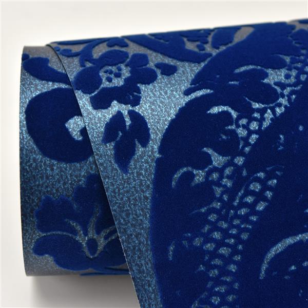 Papier peint damassé ombre, bleu