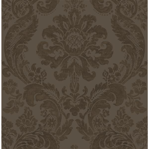 Papier peint damassé ombre, brun